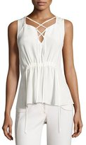 Derek Lam Lace-Up Drawstring Sleeveless Blouse, White