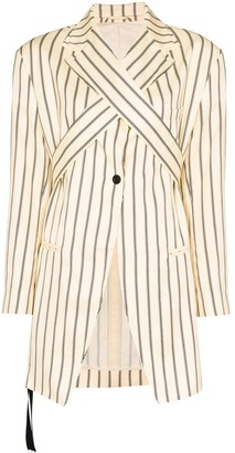 Unravel Project Stripe Wrap-Front Blazer