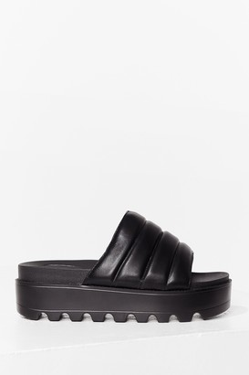 Nasty Gal Womens Take a Walk Faux Leather Cleated Sandals - Black