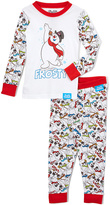 Intimo White & Red Frosty Pajama Set - Boys