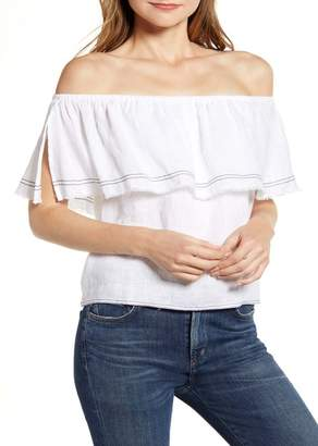 1 STATE 1.State Off the Shoulder Frayed Popover Linen Top