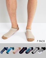 Asos Trainer Socks With Colour Block Design 7 Pack