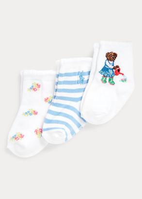 Ralph Lauren Gardening Bear Sock 3-Pack