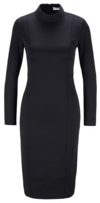 HUGO BOSS Mock Neck Dress With Full Rear Zip - Black