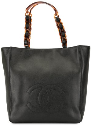 Chanel Pre Owned 1994 tortoiseshell detail CC tote