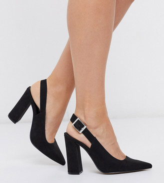 Asos DESIGN Wide Fit Planet slingback high block heels in black