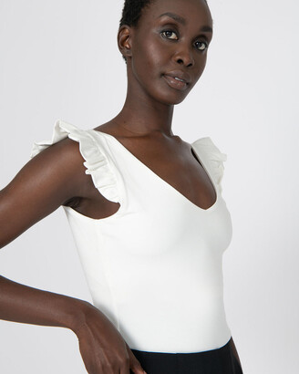 Forcast Women's White Workwear Tops - Erin Ruffle Sleeve Tee - Size One Size, 4 at The Iconic
