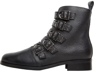 Karen Millen Womens Bronte Alice Leather Ankle Boots Black/Black