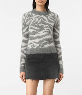 AllSaints Quant Cropped Tiger Sweater