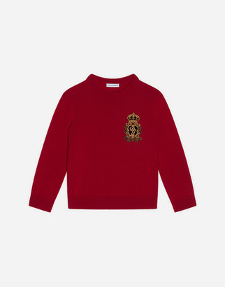Dolce & Gabbana Round-Neck Wool Sweater With Heraldic Patch
