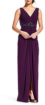 Adrianna Papell V-Neck Draped Back Jersey Gown