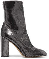 Sam Edelman Calexa Sequined Stretch-twill Sock Boots - Silver