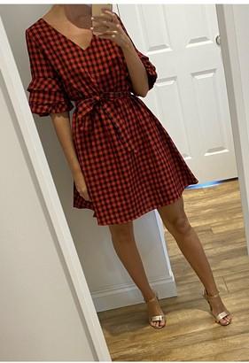 Gini London Red Check Pattern Tie Waist Tea Dress