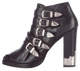 Toga Buckle-Accented Kiltie Booties
