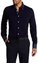 Thomas Dean Solid Textured Jersey Full Button Shirt