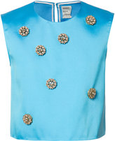 Maison Rabih Kayrouz embellished cropped top - women - Silk/Polyester - 38