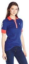 U.S. Polo Assn. Junior's Striped Placket Stretch Pique Polo Shirt