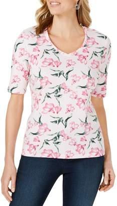 Karen Scott Petite Floral-Print V-Neck Top