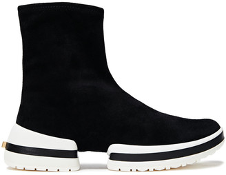 Stuart Weitzman Stretch-suede High-top Sneakers
