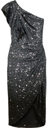 Marchesa Notte One-shoulder Draped Sequined Tulle Dress