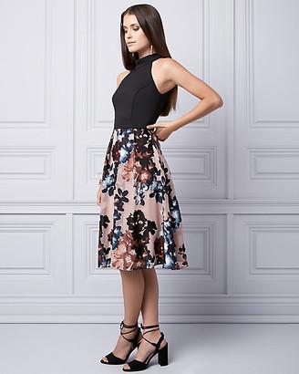 Le Château Floral Print Burnout Halter Dress