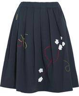 Mira Mikati Pleated Embroidered Cotton-twill Skirt - Navy