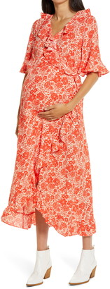 Topshop Floral Print Ruffle Wrap Maternity Dress