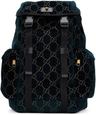 Gucci Blue Velvet Medium GG Backpack