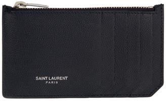 Saint Laurent Navy Zipped Fragment Card Holder