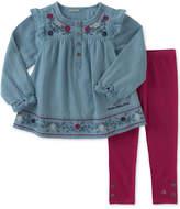 Calvin Klein 2-Pc. Embroidered Denim Tunic & Leggings Set, Toddler & Little Girls (2T-6X)