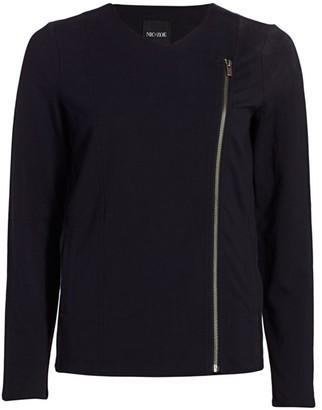 Nic+Zoe, Petites Conquer Knit Moto Zip Jacket