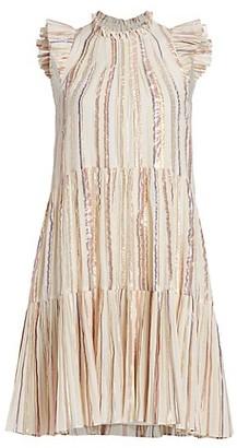 Sea Harriet Lurex-Striped Tiered Babydoll Dress