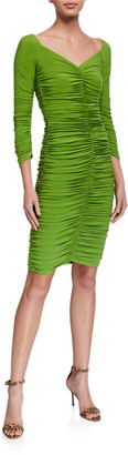 Norma Kamali Slinky Off-the-Shoulder Ruched Dress