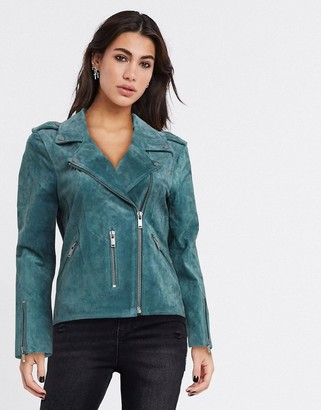 Selected sandy leather jacket in green