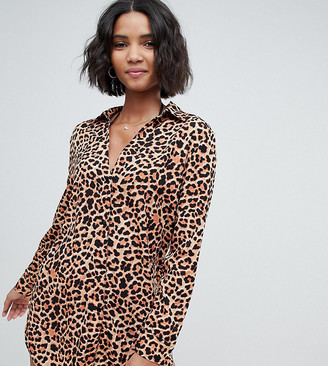 South Beach Exclusive oversized beach shirt Dress in leopard print