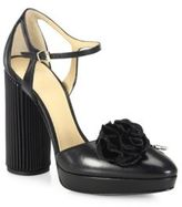 Giorgio Armani Flower-Detail Leather Ankle-Strap Pumps