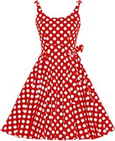 Bbonlinedress Women's 1950's Vintage Retro Bowknot Polka Dot Rockabilly Swing Dress XS