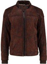 Tom Tailor Leather Jacket Dark Brown