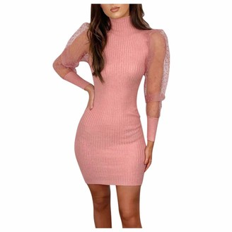 Gofodn Dresses for Women UK Plus Size Evening Party Sexy Solid Slim fit Mesh Perspective Long Sleeve Mini Formal Dress White