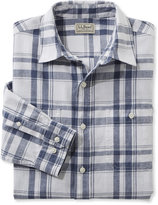 L.L. Bean Linen/Cotton Shirt, Slightly Fitted Long-Sleeve Plaid