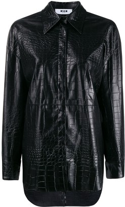 MSGM Crocodile Embossed Faux Leather Shirt