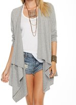 Chaser Women's Love Knit 3/4 Sleeve Drape Front Cardigan - Heather