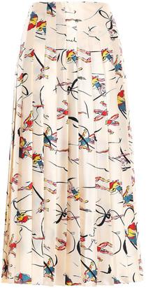 Tory Burch Pleated Silk-satin Midi Skirt
