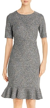 Leota Gia Checked Knit Flounce Hem Dress