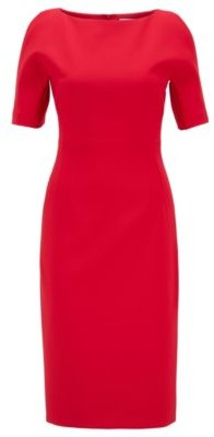 HUGO BOSS Shift Dress In Stretch Fabric With Cut Out Shoulders - Red