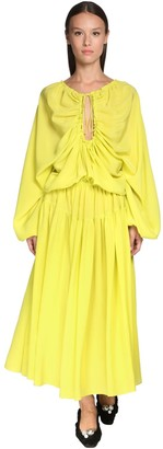 Rochas Ruffled Silk Crepe Midi Dress