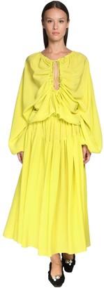 Rochas Ruffled Silk Crepe Midi Dress