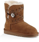 UGG Girls' Bailey Button II Tehuano Leather Topstitching Slip-On Boot