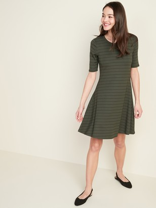 Old Navy Striped Rib-Knit Fit & Flare Dress for Women