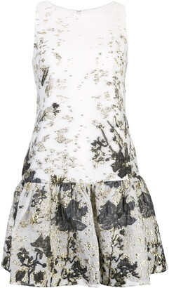 Marchesa Jaquard Ruffled Hem Dress